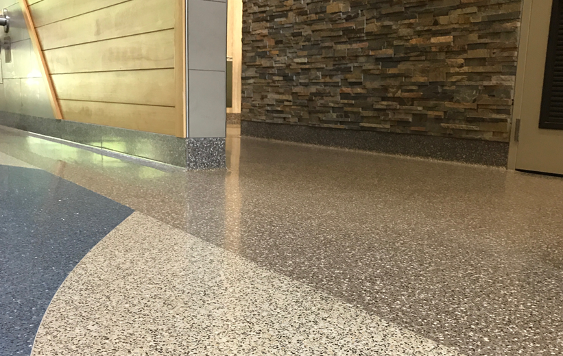 Seamless terrazzo flooring at Haywood County Rest Area
