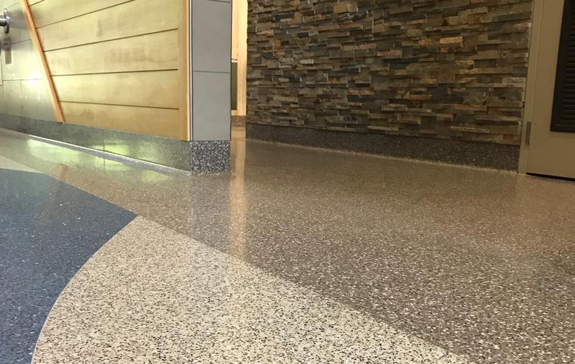 Seamless terrazzo flooring at Haywood County Rest Area