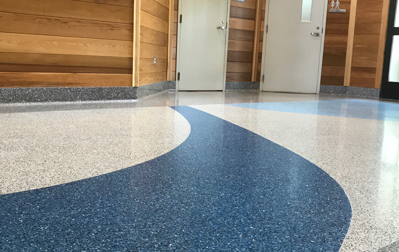 Terrazzo flooring at Haywood County Rest Area in North Carolina
