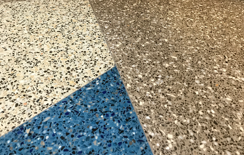 3 Color Terrazzo Floor Design at Haywood County Rest Area