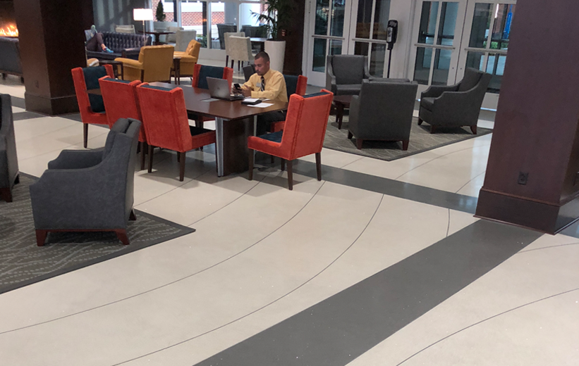 Professor working at High Point University. New terrazzo floors installed