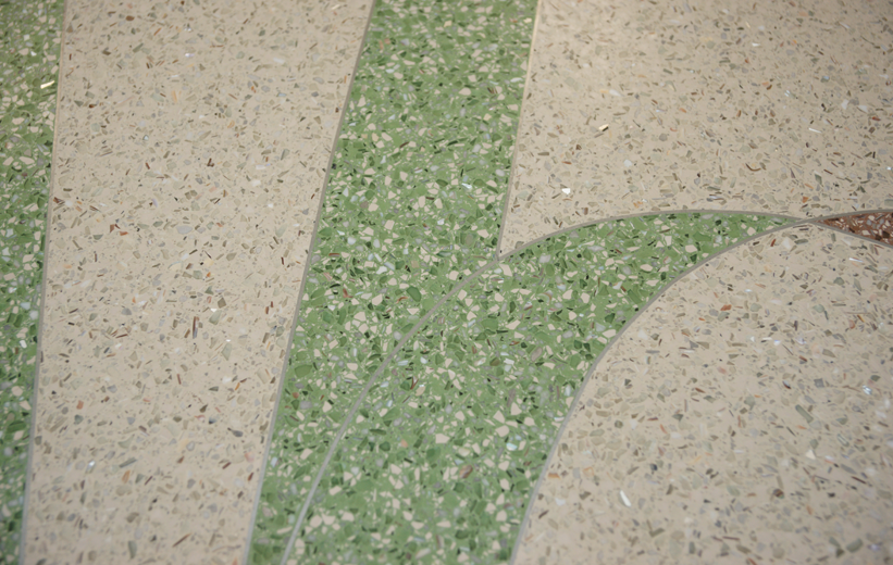Green and White Terrazzo Design at Jennie Moore Elementary School