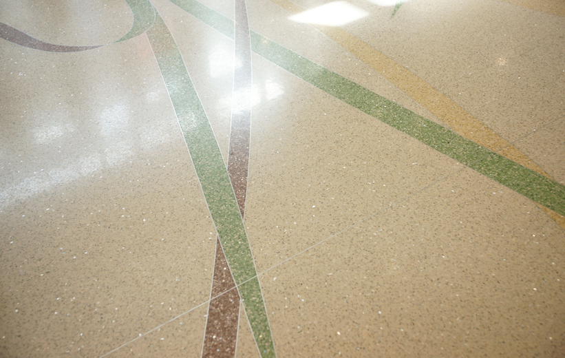 Terrazzo floor details at Jennie Moore Elementary School