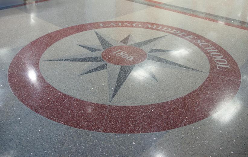 Laing Middle School Terrazzo Logo Design
