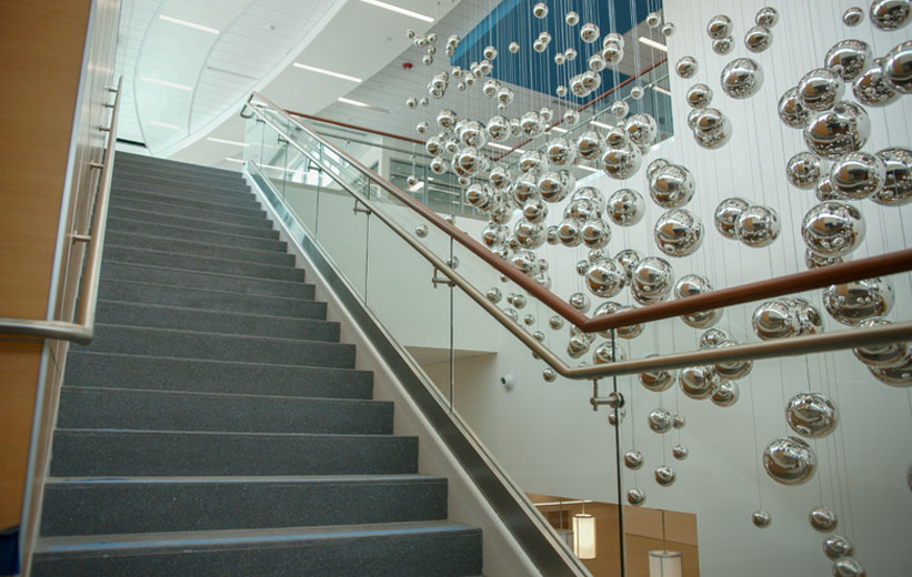 Grey terrazzo staircase