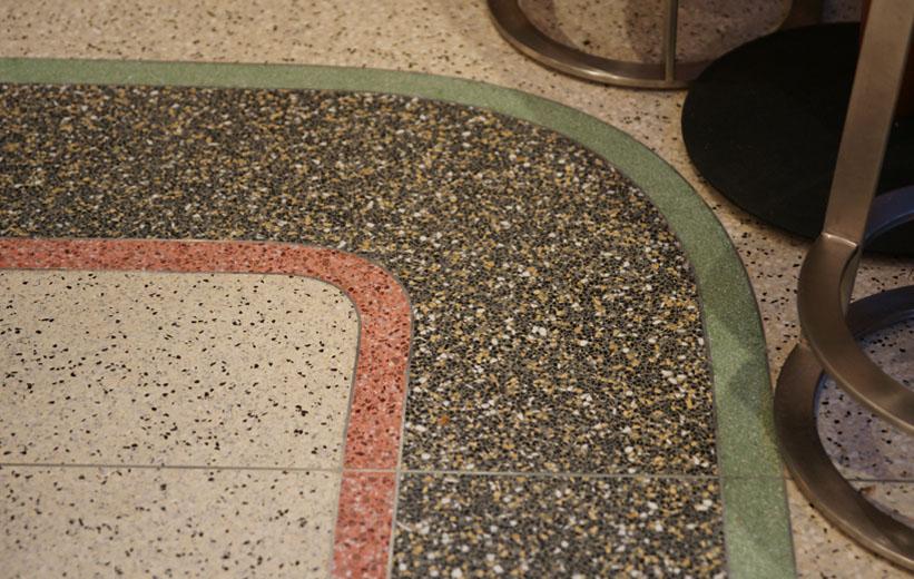 Curved terrazzo floor design
