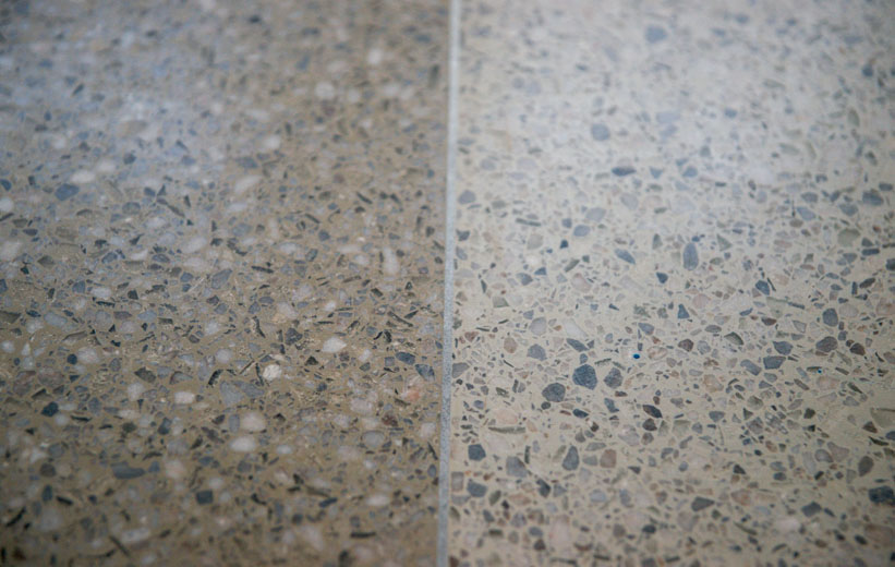 Epoxy terrazzo flooring details at Garrison School of the Arts