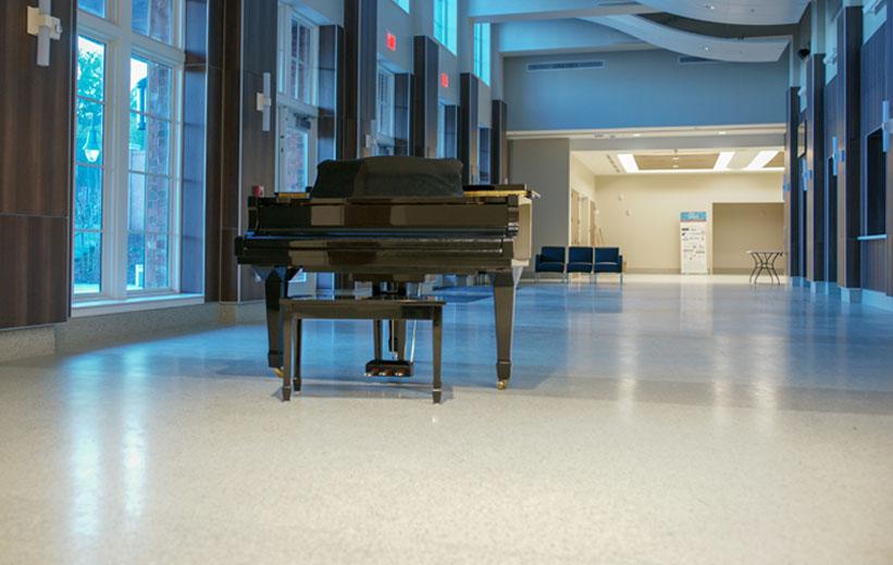 White Terrazzo Floor and Piano
