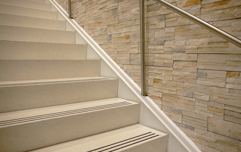 Tread and Riser terrazzo staircase at Seminole State College