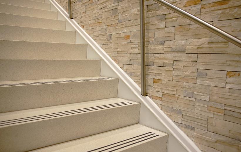 Tread and Riser terrazzo staircase at Seminole State College