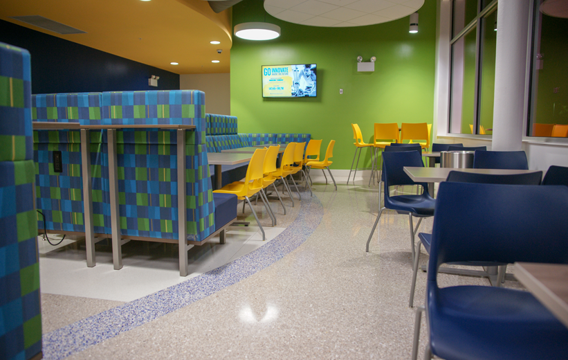 Terrazzo flooring in school dining hall at Seminole State College