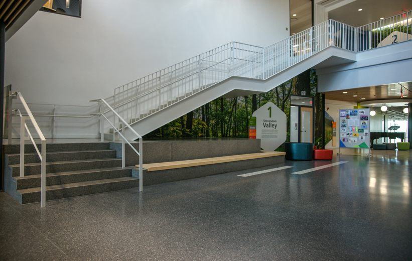 Terrazzo flooring and stairs at Bluestone Elementary School